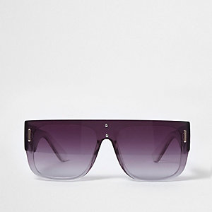 Black flat top smoke tinted sunglasses
