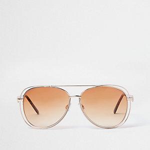 Gold tone orange lens aviator sunglasses