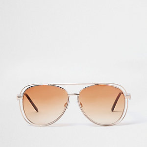 Goldfarbene Pilotensonnenbrille mit Gläsern in Orange