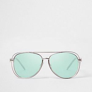 Green lenses cut out frame aviator sunglasses