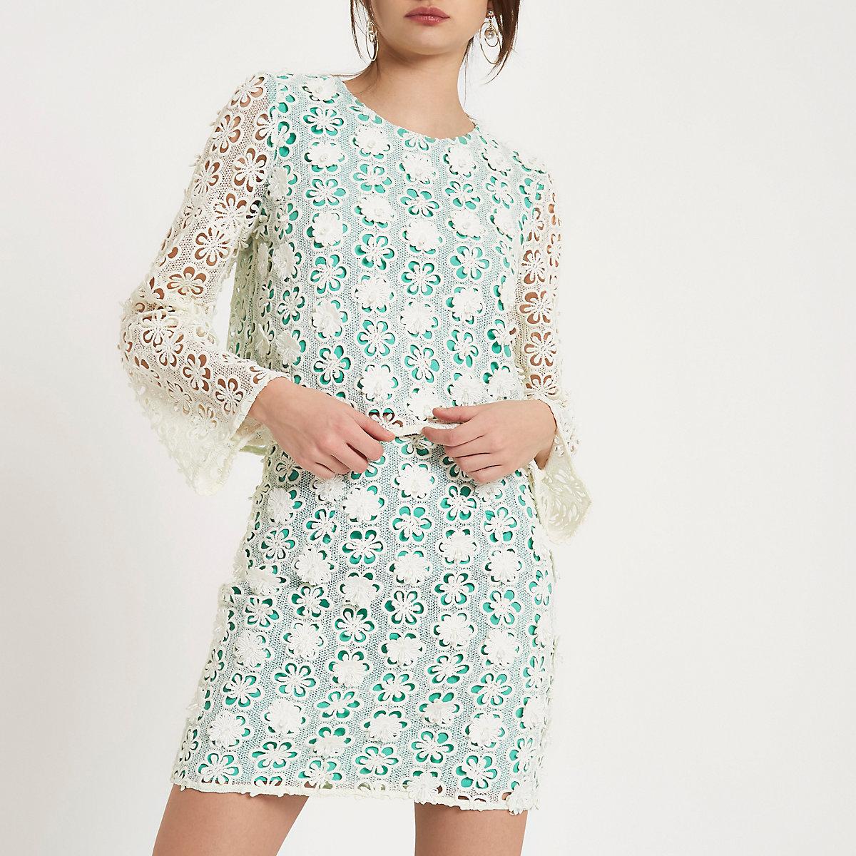 Green floral embellished lace mini skirt