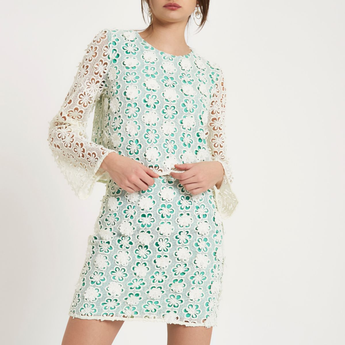 Green floral embellished lace mini skirt