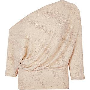 Beige glitter one shoulder draped front top