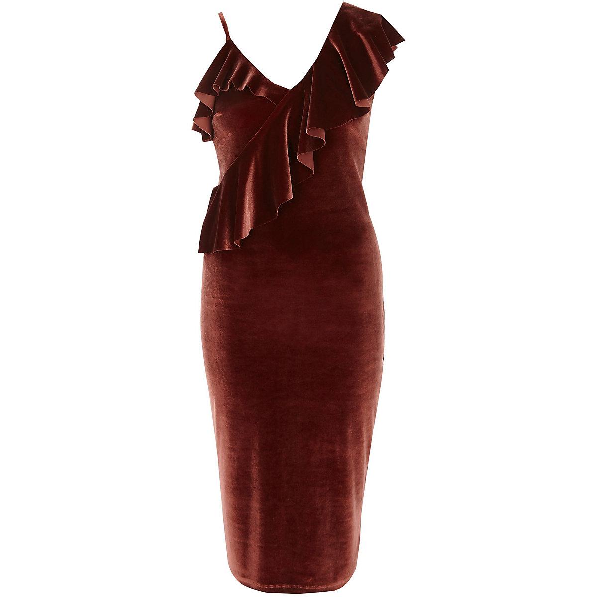 Rust pink one shoulder velvet midi dress