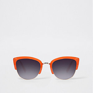 Orange half frame smoke lens sunglasses