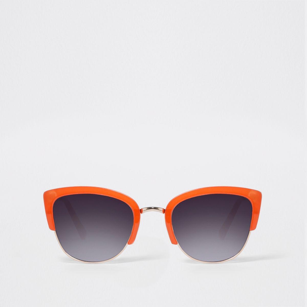 Orange half frame smoke lens sunglasses