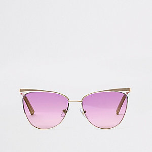 Goldfarbene Sonnenbrille mit lila Gläsern
