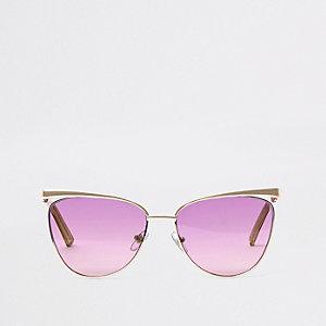 Goudkleurige zonnebril met blauwpaarse glazen
