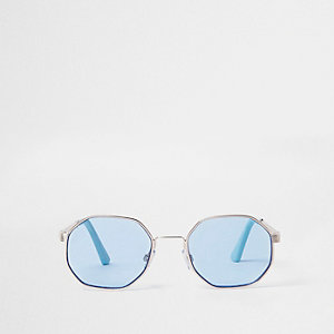 Gold tone hexagon blue lens sunglasses