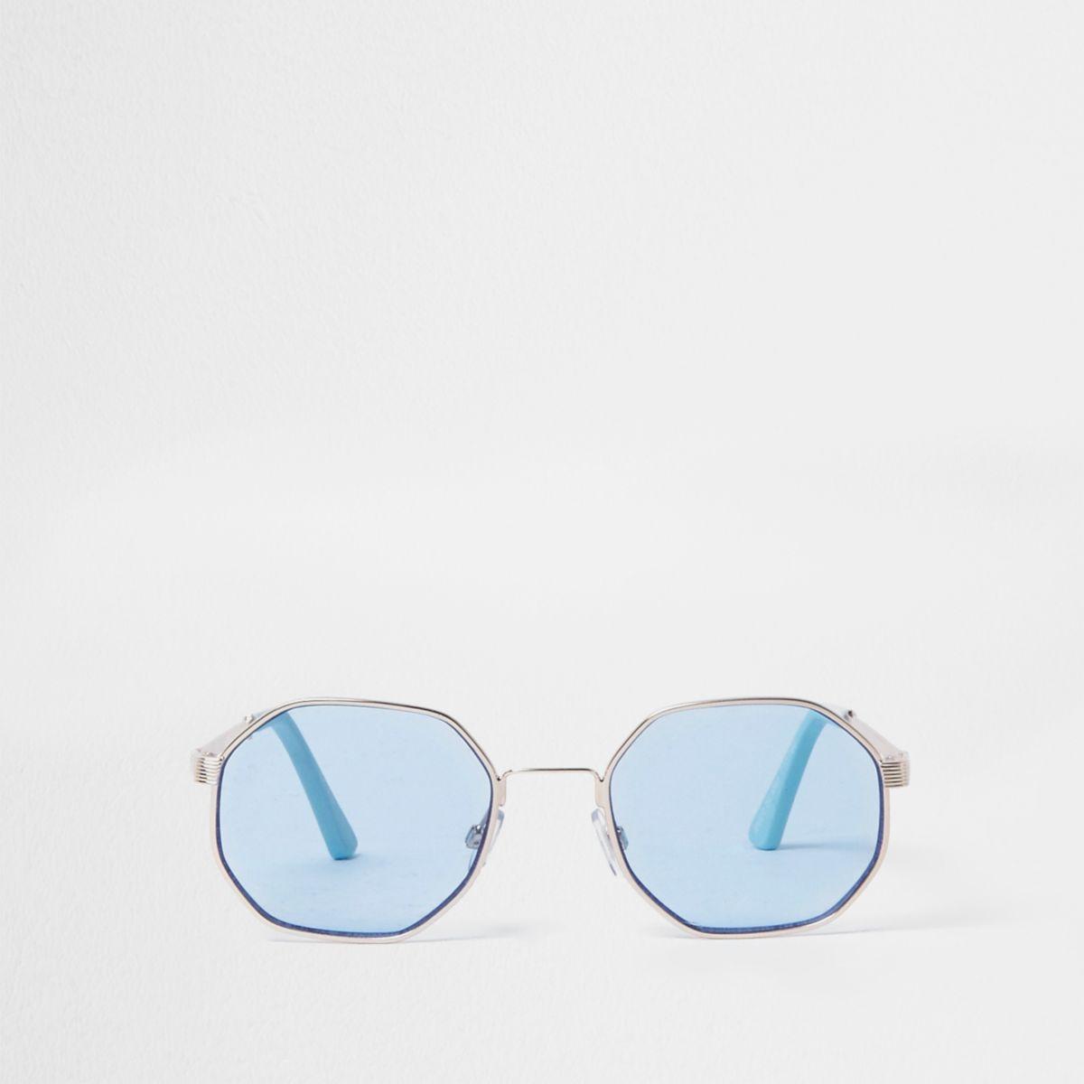 Gold tone hexagon blue lens sunglasses