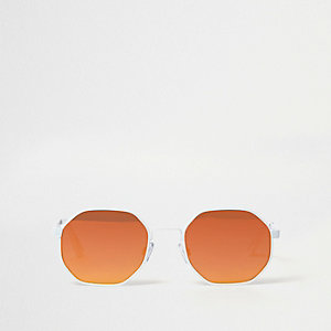 White hexagon orange mirror lens sunglasses