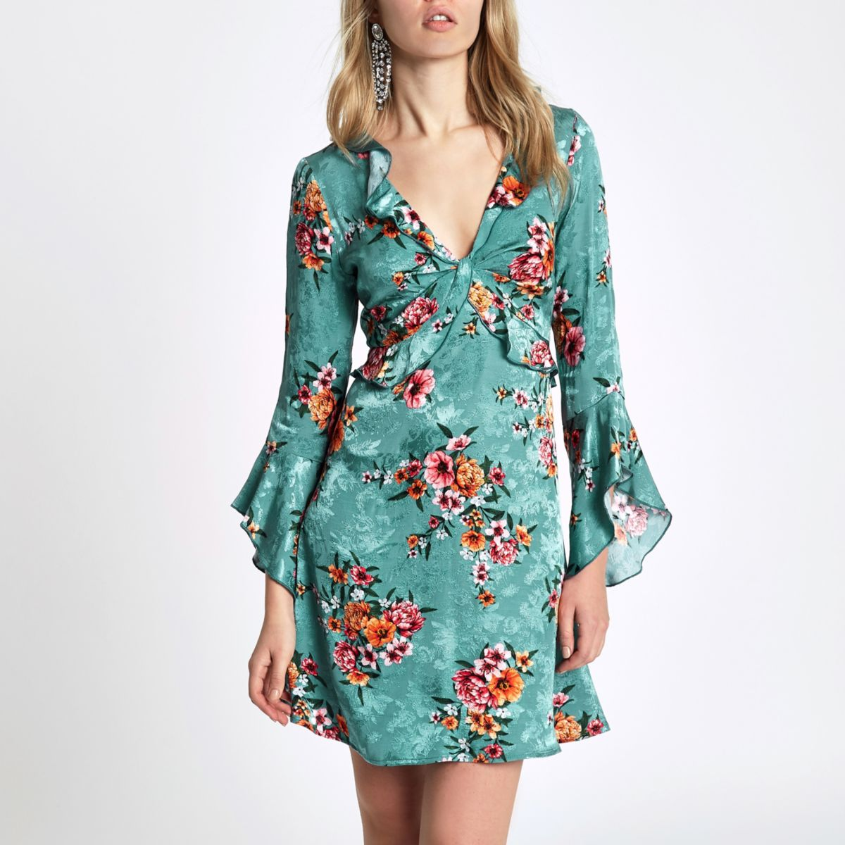Blue floral frill front cut out back dress