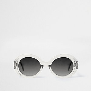 Light grey clear oval smoke lens sunglasses