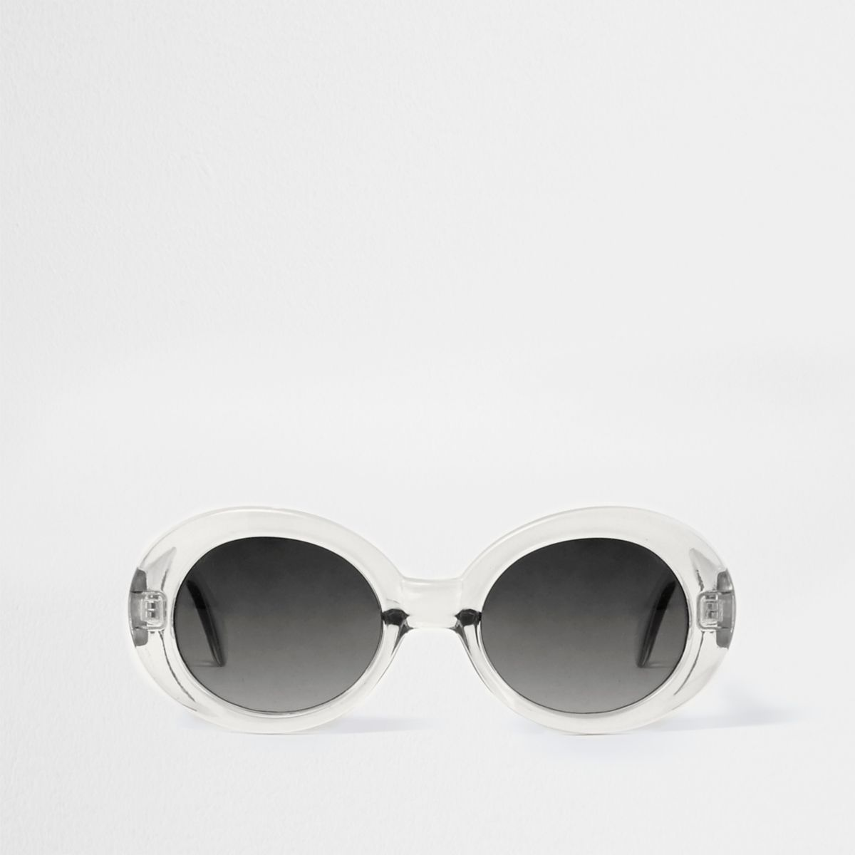Light grey clear oval smoke lens sunglasses