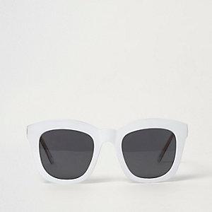 Lunettes de soleil glamour carrées blanches