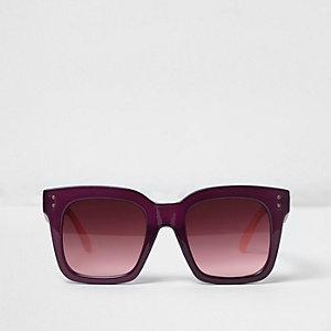 Paars oversized zonnebril met vierkant montuur
