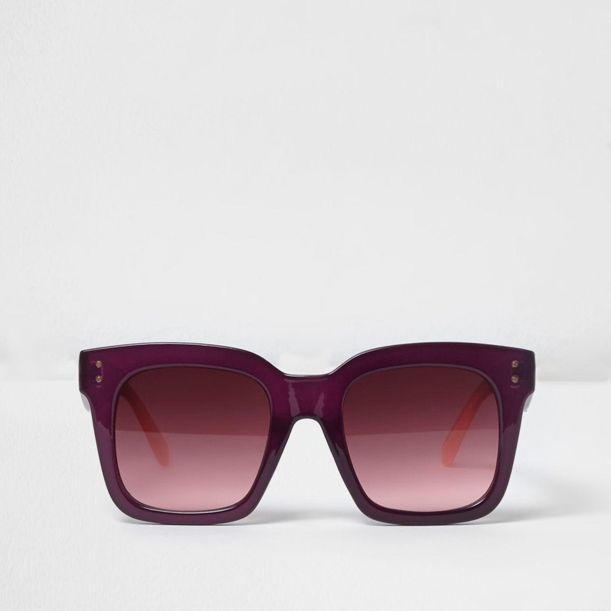 Purple square frame oversized sunglasses