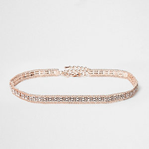 Rose gold tone diamante choker