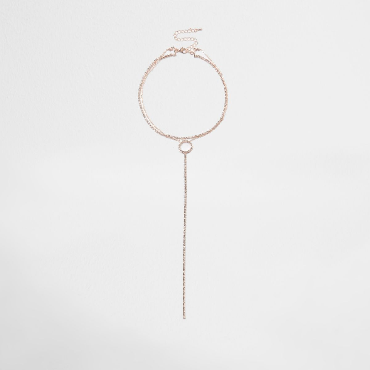 Rose gold tone cup chain circle plunge choker