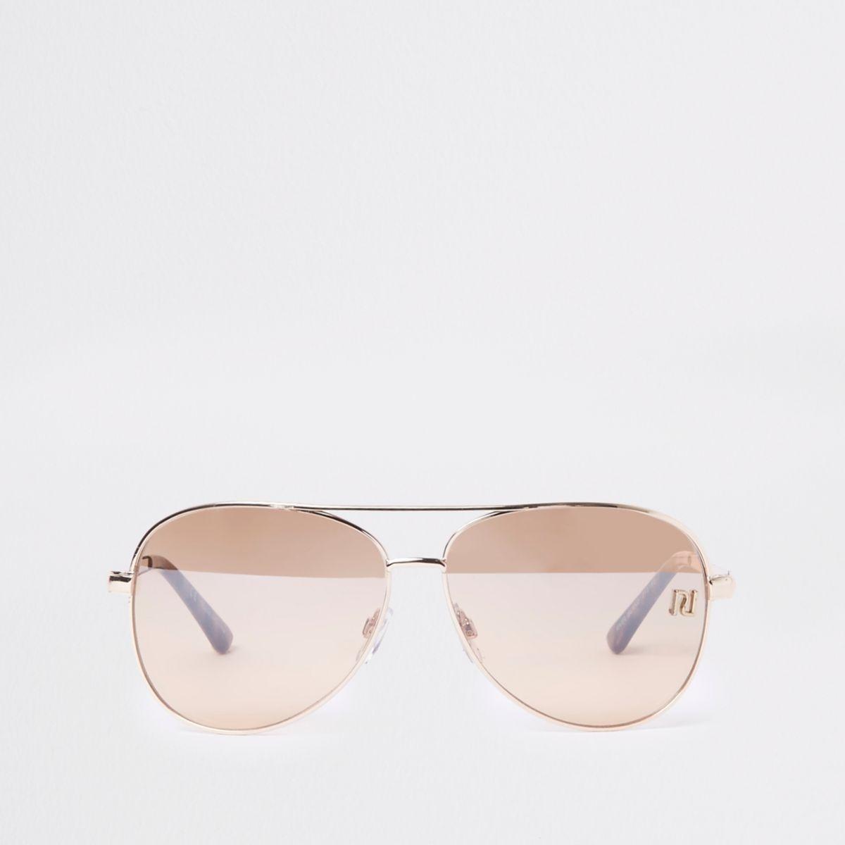 Gold tone RI branded aviator sunglasses