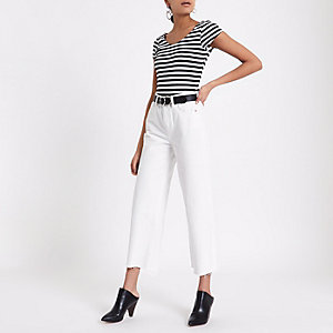 Black stripe cap sleeve scoop neck bodysuit