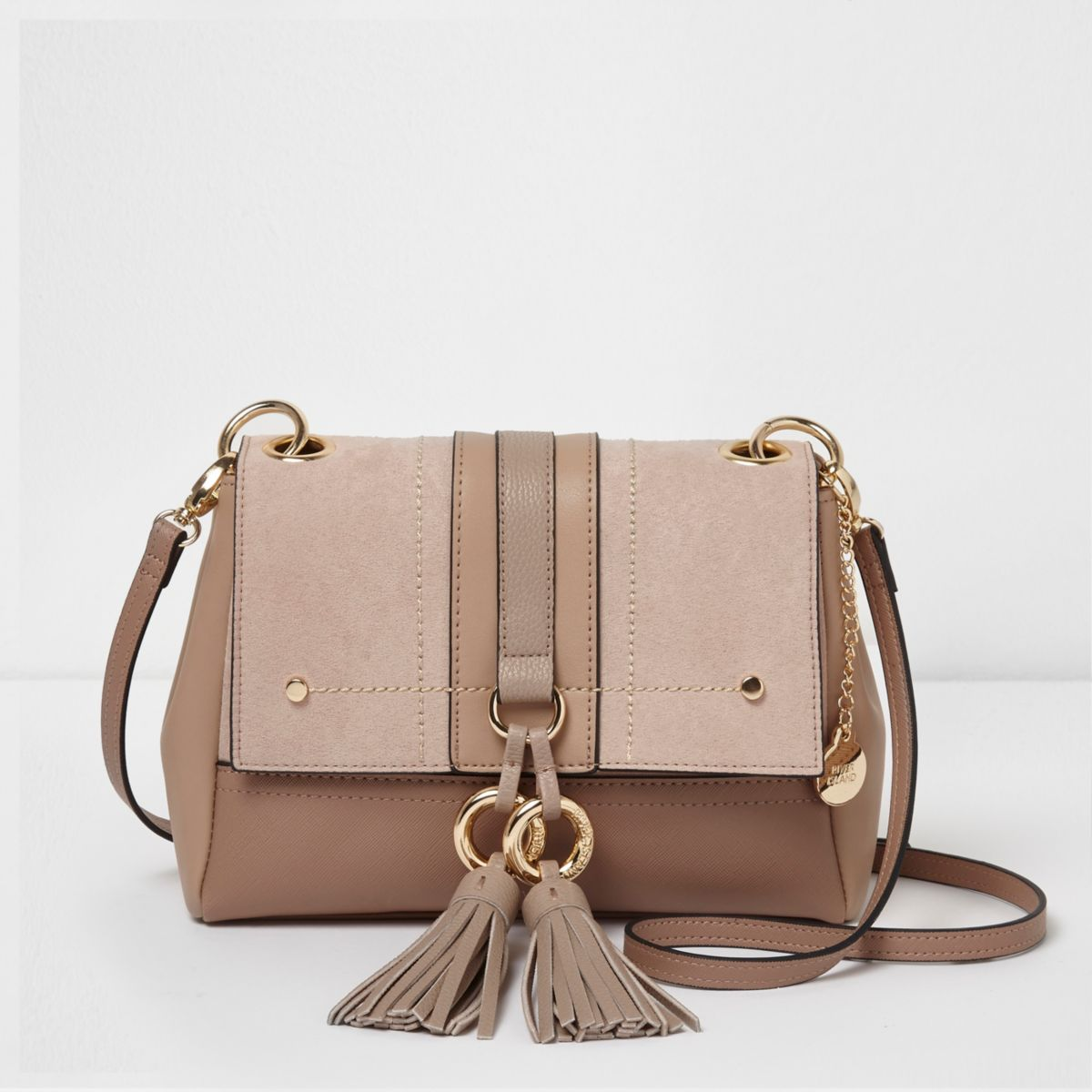 Beige mixed texture tassel crossbody bag