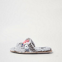 Grey faux fur 3d flower slider slippers