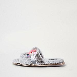 Grey faux fur 3d flower slider slippers