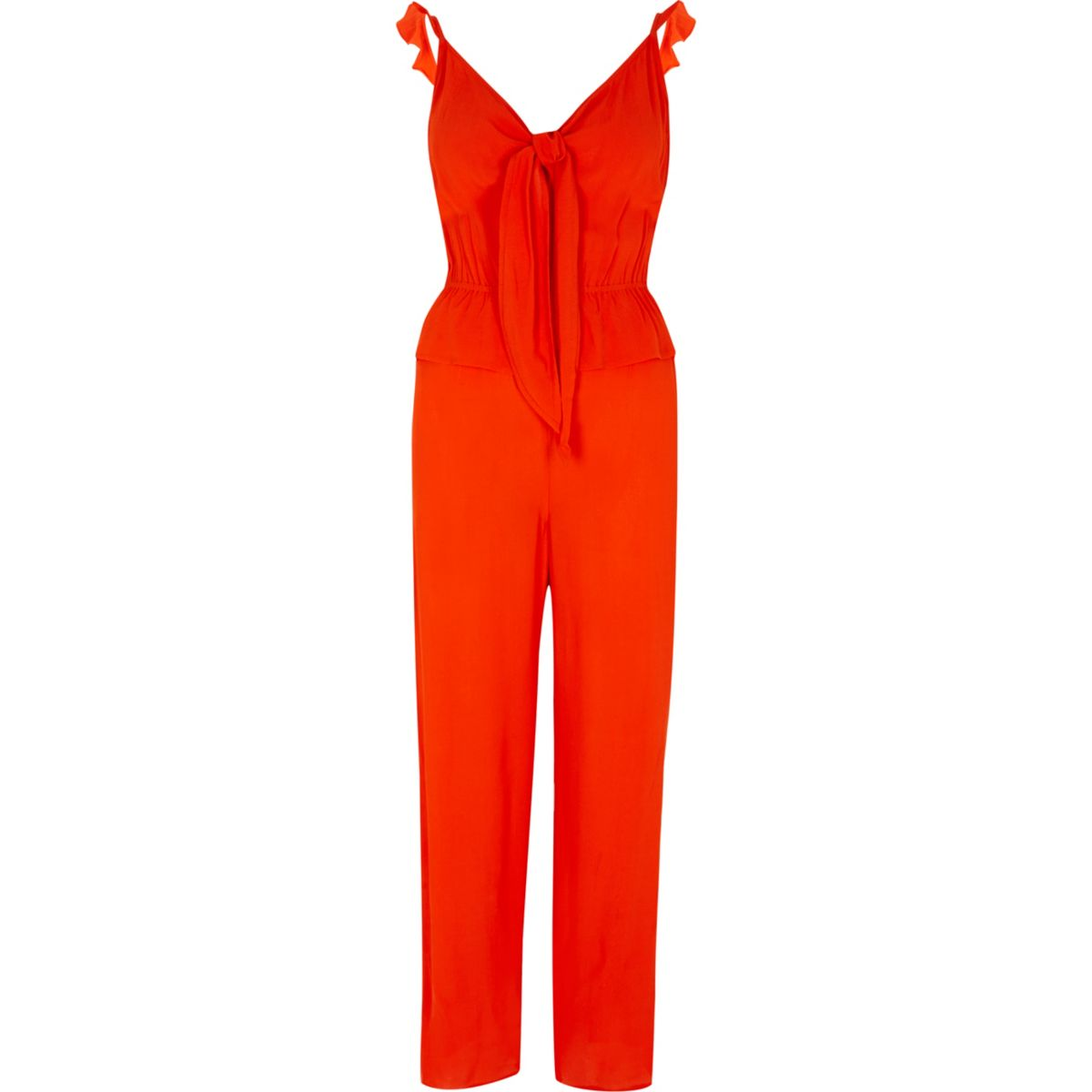 Red bow front cami frill strap jumpsuit