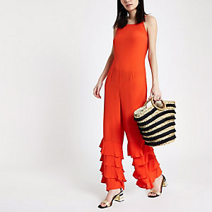 Red tiered frill cami jumpsuit
