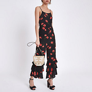 Black floral print tiered frill cami jumpsuit