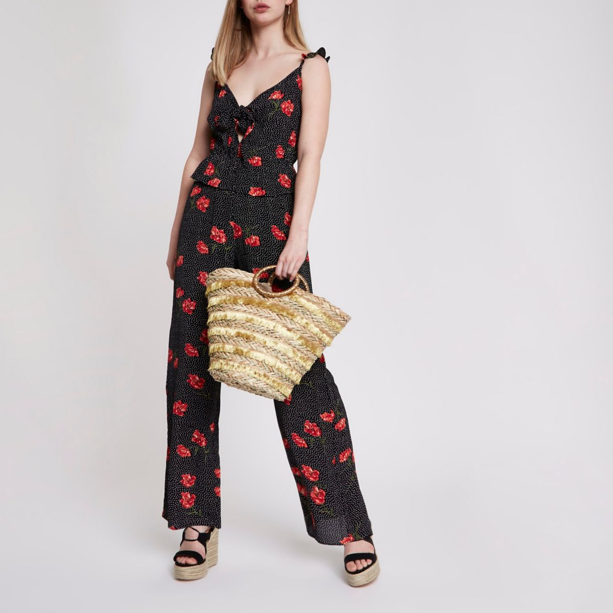 Black floral frill shoulder jumpsuit