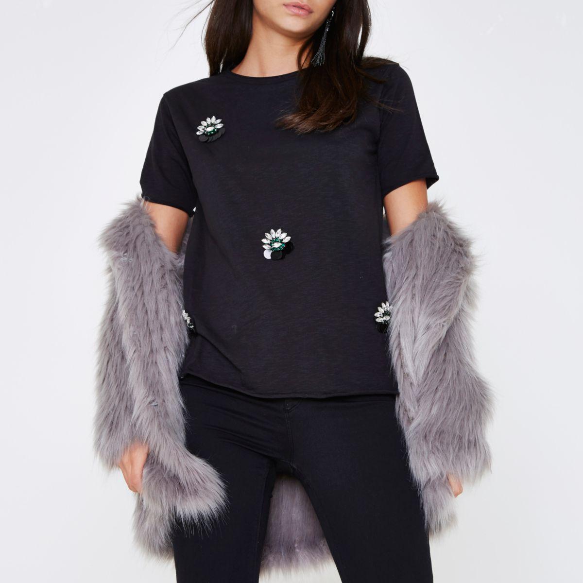 Black jewel embellished brooch T-shirt