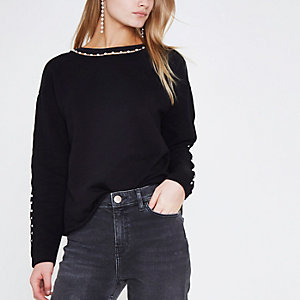 Black faux pearl embellished sweatshirt