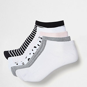 Pink stripe mix trainer socks multipack