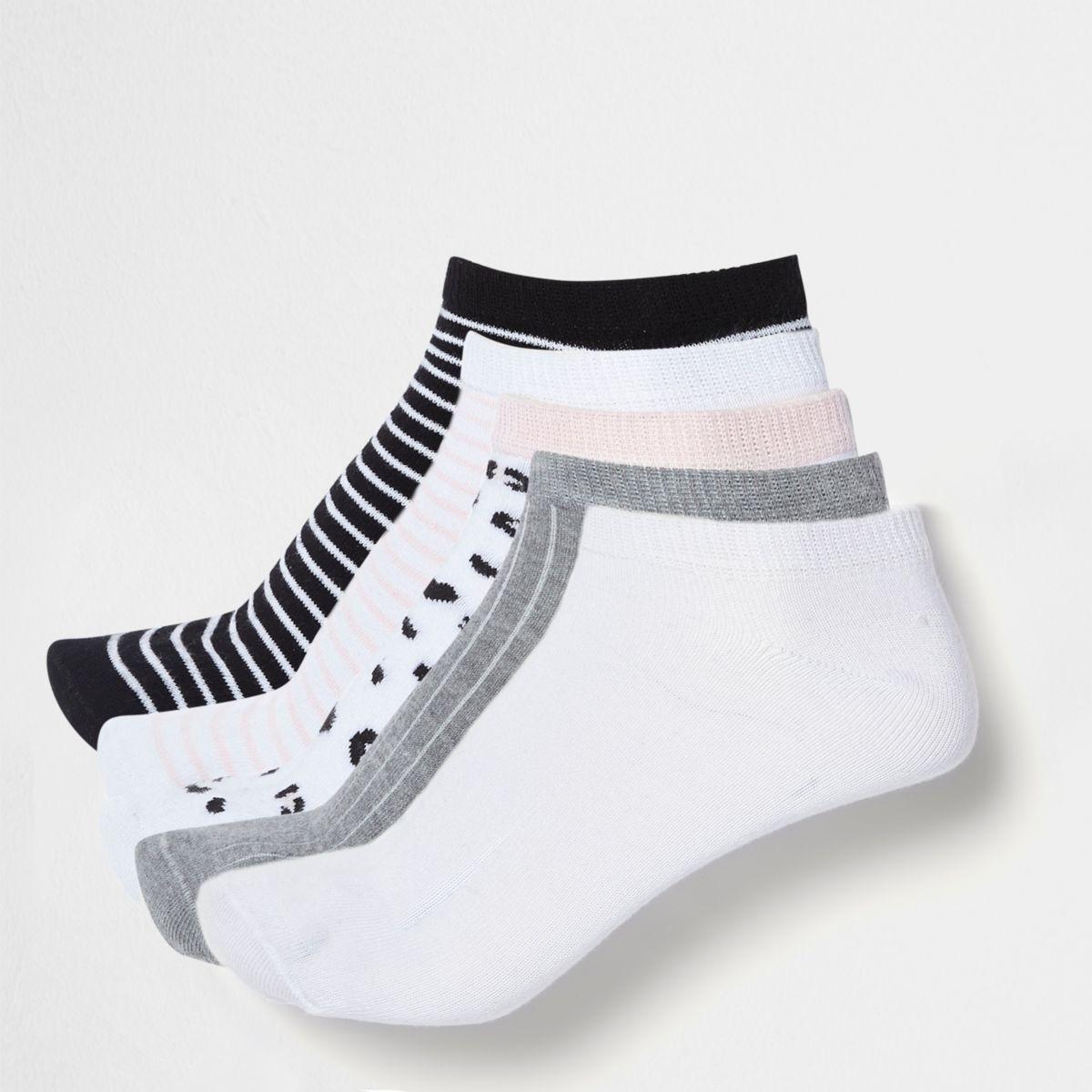 Pink stripe mix sneaker socks multipack