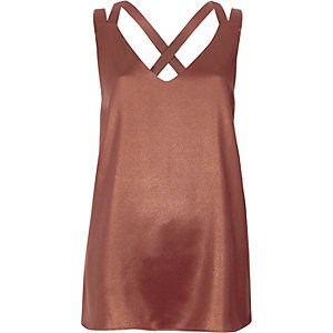 Copper metallic double strap cross back tank