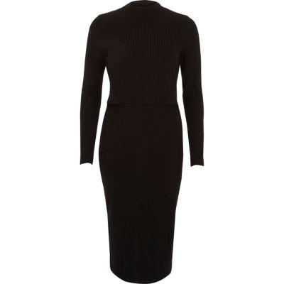 River Island Zwarte geribbelde gelaagde midi-jurk met uitsnede op de rug