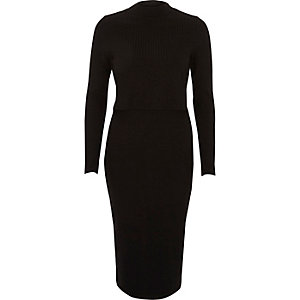 Black ribbed layered cut out back midi dress