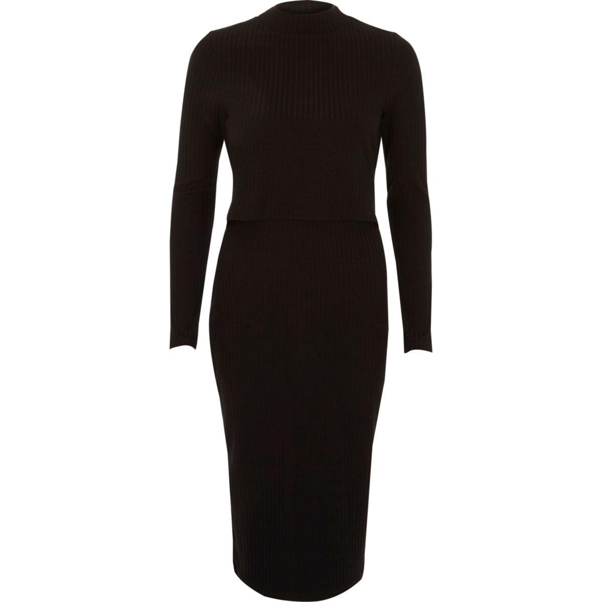 Zwarte geribbelde gelaagde midi-jurk met uitsnede op de rug