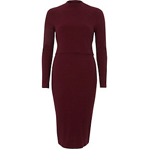 Dark red rib double layer bodycon midi dress