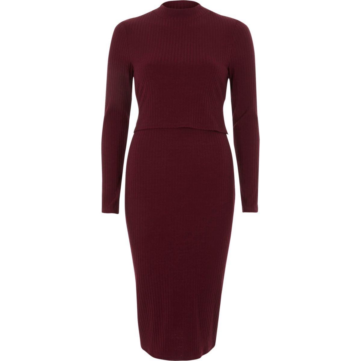 Dark red rib double layer bodycon midi dress