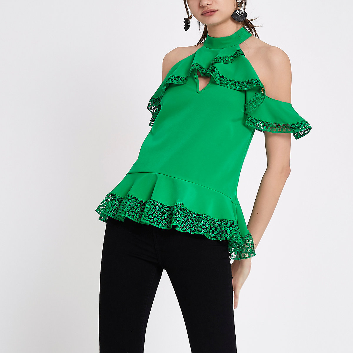 Green lace trim cold shoulder frill top