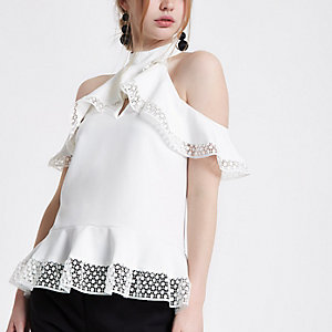 Cream cold shoulder frill peplum top