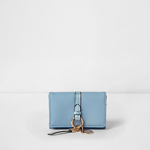 Light blue ring front mini foldout coin purse