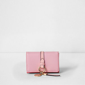Light pink ring front mini foldout coin purse
