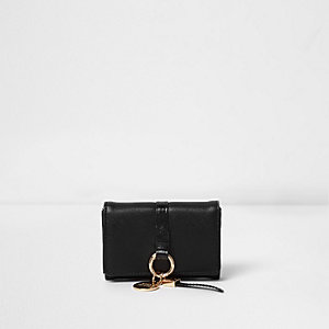 Black ring front mini foldout coin purse