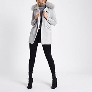 Light grey faux fur collar trench coat