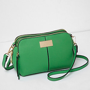 Green triple compartment cross body bag