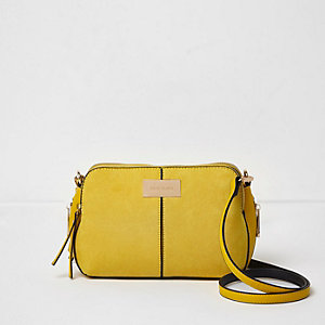 Yellow triple compartment cross body bag